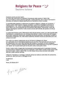 """MESSAGGIO DAL PRESIDENTE DELLA SEZIONE ITALIANA DI """"RELIGIONS FOR PEACE"""", LUIGI DE SALVIA"""