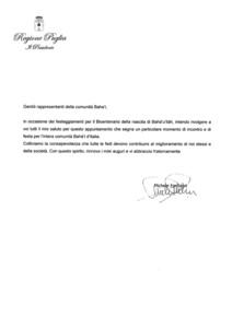 <p>Il messaggio del Presidente della Regione Puglia, Michele Emiliano in occasione del Bicentenario della Nascita di Bahá'u'lláh.</p>