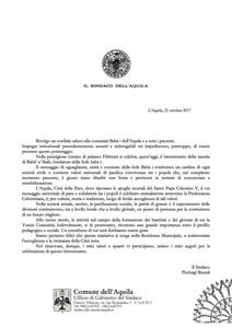 <p>Il messaggio del sindaco&nbsp;dell&#39;Aquila, Pierluigi Biondi</p>