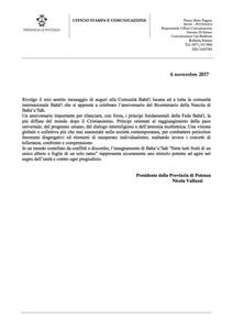 <p>Messaggio del Presidente della&nbsp;provincia di Potenza, Nicola Valluzzi</p>
