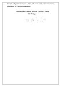 <p>Messaggio del Sottosegretario di Stato all&rsquo;Istruzione, Universit&agrave; e Ricerca, Vito De Filippo (3)&nbsp;</p>