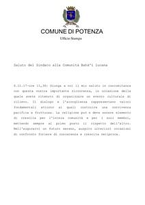 <p>Messaggio dal Sindaco di Potenza Dario De Luca</p>